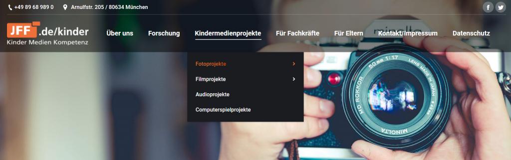 Ausschnitt der Jff.de/Kinder Website.