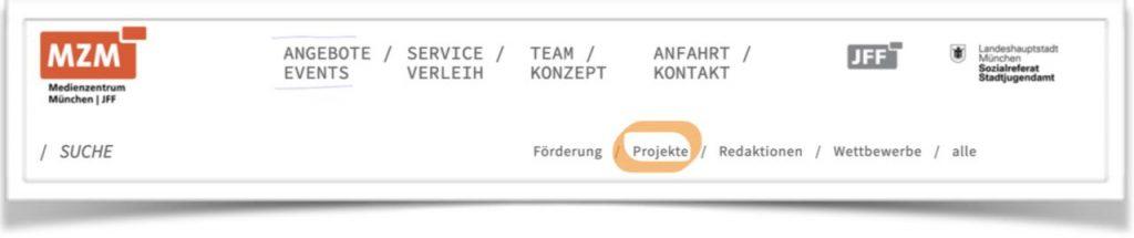 Ausschnitt der Medienzentrum München Website.