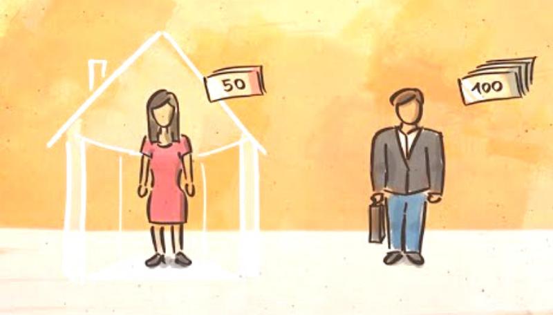 Zeichnung: Eine Frau steht vor einem Haus. SIe bleibt zu Hause während der Mann zur Arbeit geht und Geld verdient.