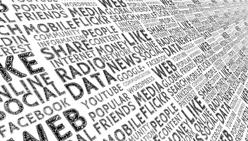Eine Wortwolke zum Thema Medien mit Begriffen wie: Data, radio, share, like, web, ...