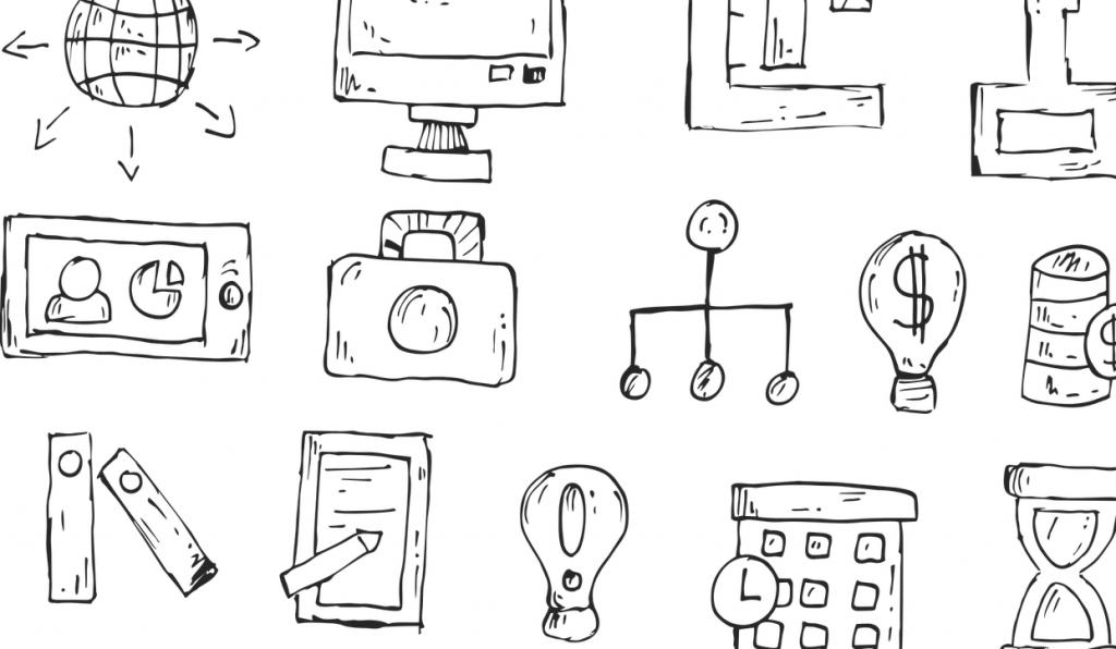 Verschiedene gezeichnete Symbole: unter anderem eine Glühbirne, eine Sanduhr, eine Kamera und ein Handy.