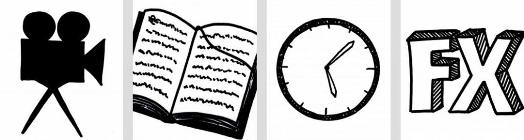 Vier Zeichnungen nebeneinander: eine Filmkamera, ein Buch, eine Uhr und die beiden Buchstaben: FX.
