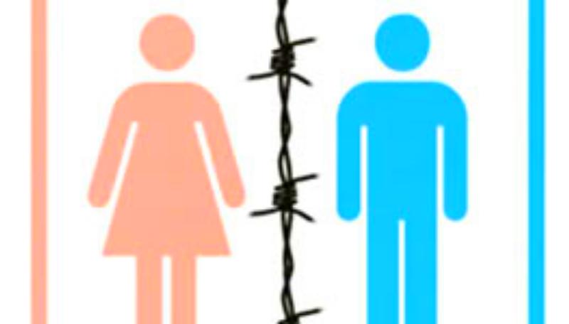 Schematische Zeichnung einer Frau in rosa und die eines Mannes in blau. Zwischen den beiden befindet sich ein Stacheldraht.