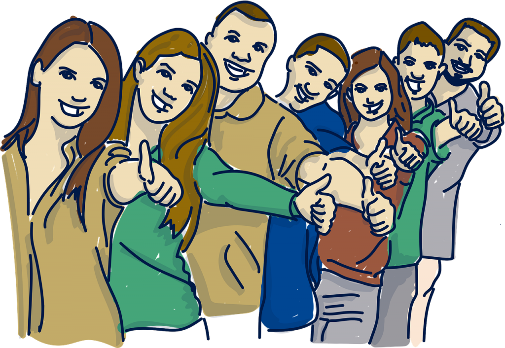 Sieben gezeichnete Menschen stehen in einer Reihe hinter einander. Sie strecken alle ihren Arm aus und zeigen einen Daumen nach oben.