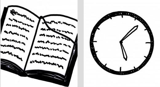 Zwei Zeichnungen: ein Buch und eine Uhr.