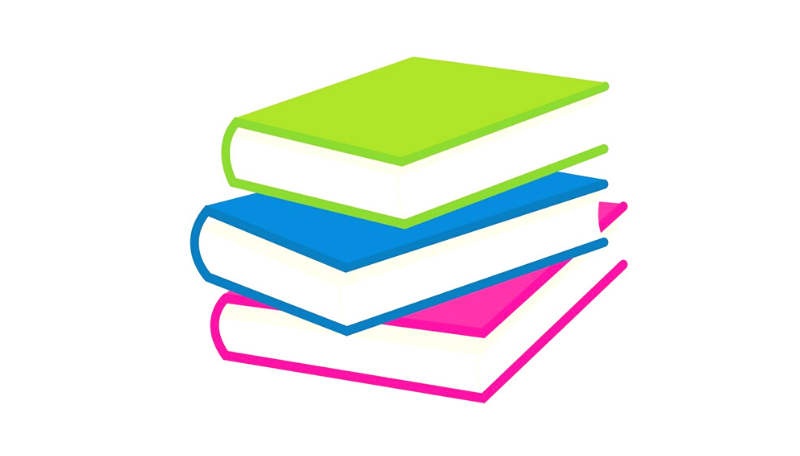 Drei Bücher in blau, grün und rosa bilden einen Bücherstapel.