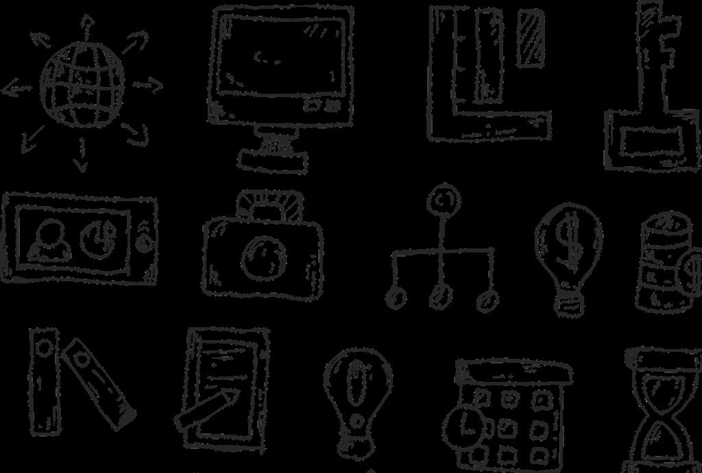 Verschiedene gezeichnete Symbole: zum Beispiel eine Glühbirne, eine Kamera, ein Handy oder ein Schlüssel.