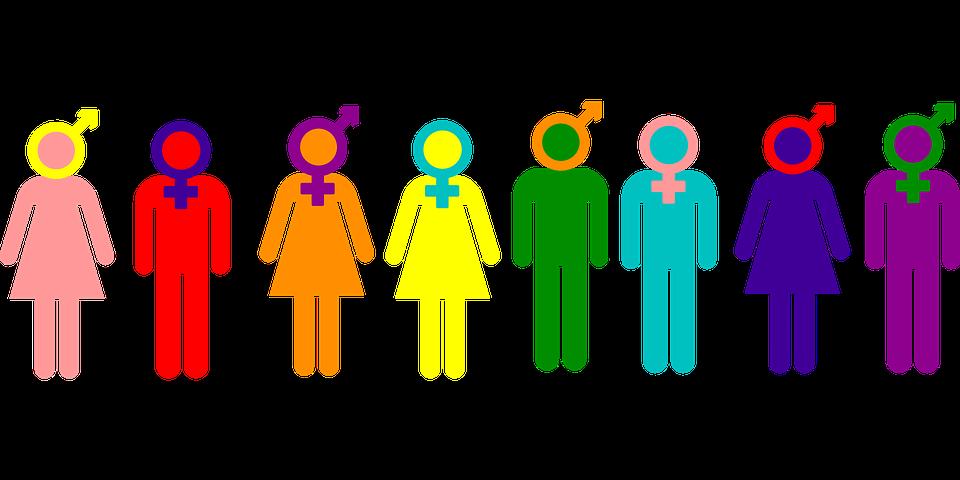 Acht verschiedene Strichmenschen, die entweder eine Hose oder ein Kleid tragen und deren Köpfe von unterschiedlichen Gender-Symbolen eingerahmt werden. Dabei sind nicht alle Strichmenschen nur männlich oder nur weiblich.
