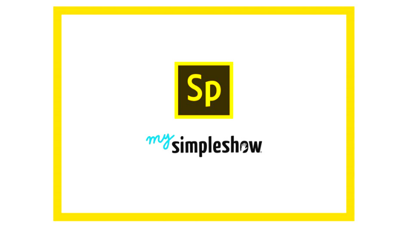 Auf weißem Hintergund ist das Logo: mysimpelshow und das Logo: Adobe Spark Video.