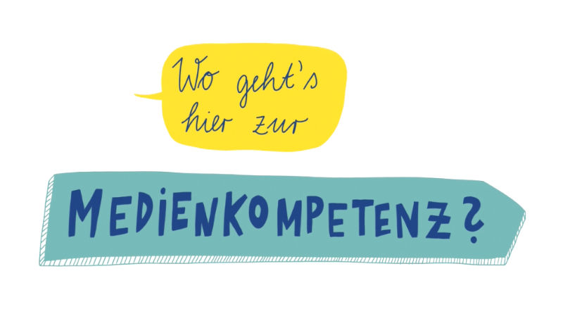 """Titelfolie zum Erklärvideo: """" Wo geht´s hier zur Medienkompetenz""""."""