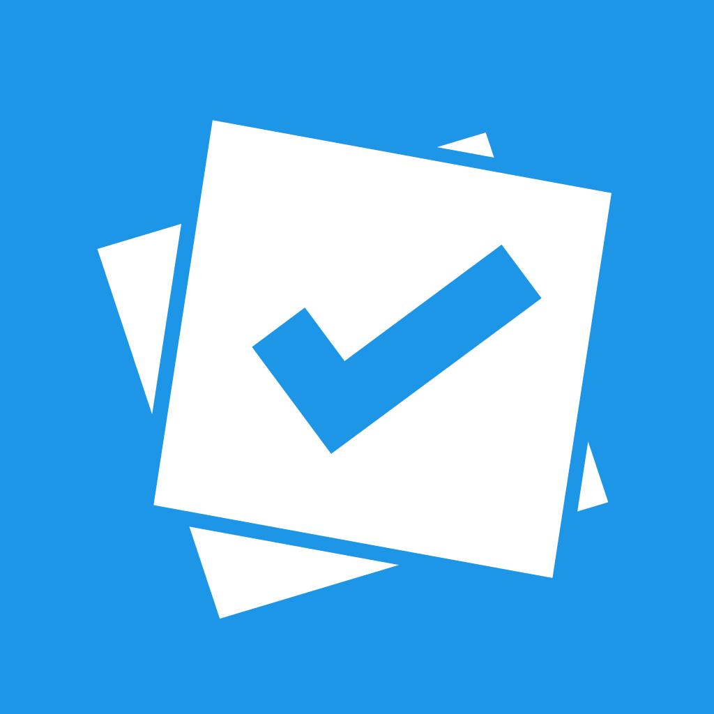 Das Logo von Plickers ist blau. Darauf befinden sich zwei weiße Quadrate und ein blauer Haken.
