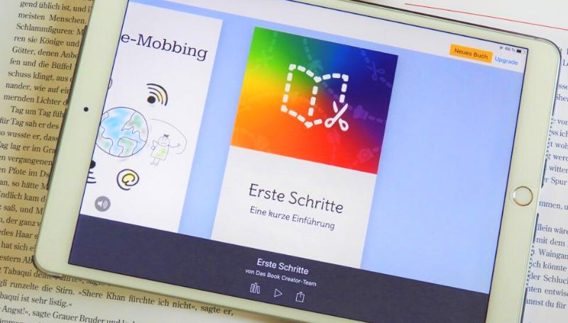 Tablet auf dem die App Book Creator geöffnet ist.