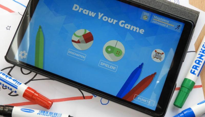 Ein Tablet auf dem die App Draw Your Game geöffnet ist.