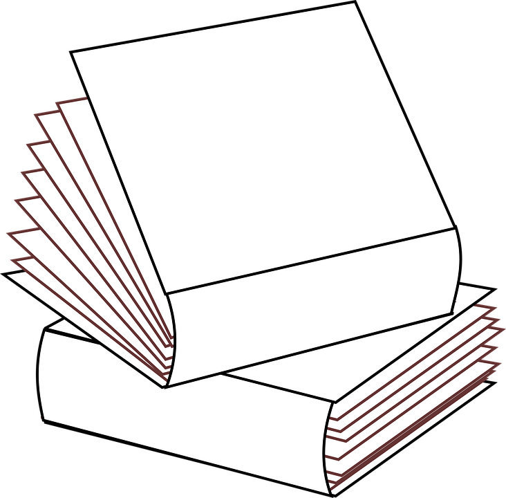 Zeichnung von zwei aufeinandergestapelten Büchern.