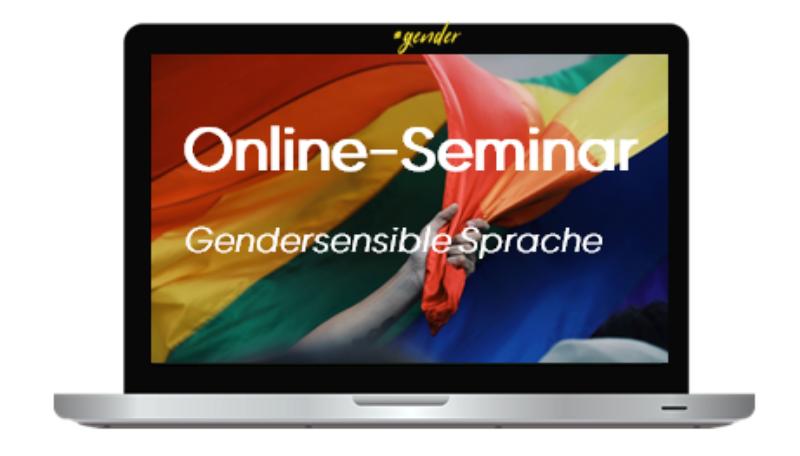 """Titelfolie zum Online-Seminar """"Gendersensible Sprache""""."""