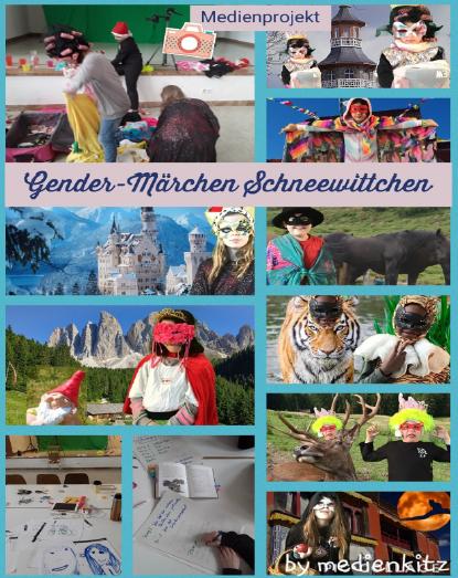 Plakat mit dem Titel: Gender-Märchen Schneewittchen.
