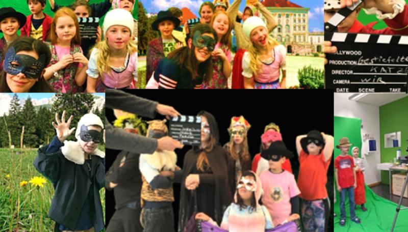 Mehrere Kinder in verschiedenen Kostümen.