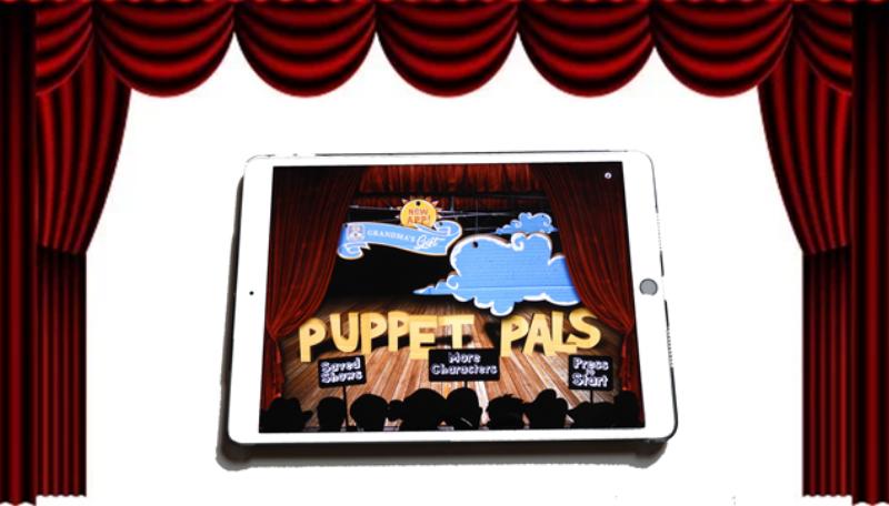 Tablet auf dem die App Puppet Pals geöffnet ist.
