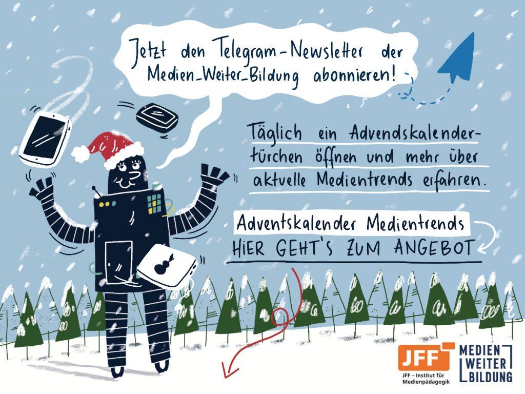 Werbe-Plakat für den Telegram-Newsletter der Medien_Weiter_Bildung.