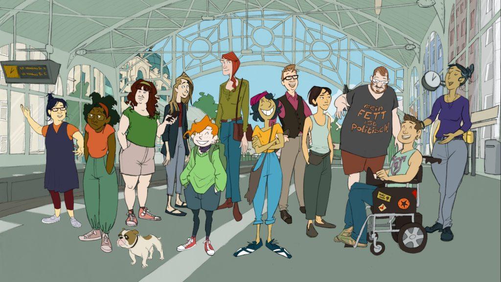 Zeichnung: Die unterschiedlichen Personen stehen gemeinsam am Bahngleis.