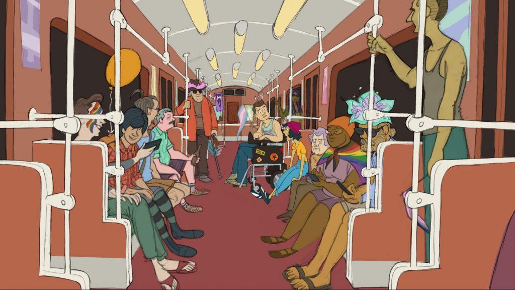 Zeichnung: Viele unterschiedliche Personen sitzen zusammen in einer U-Bahn.