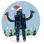Zeichnung eines Roboters mit Weihnachtsmütze.
