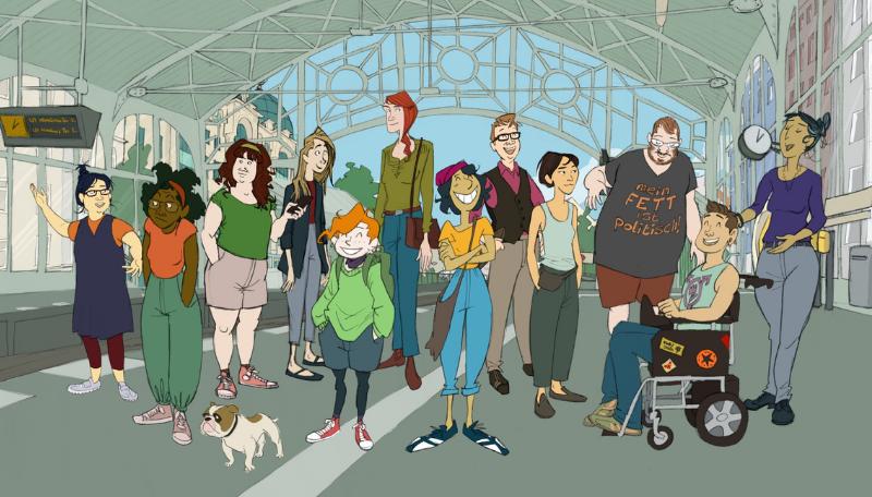Zeichnung: Eine Gruppe von Jugendlichen an einem Banhof.