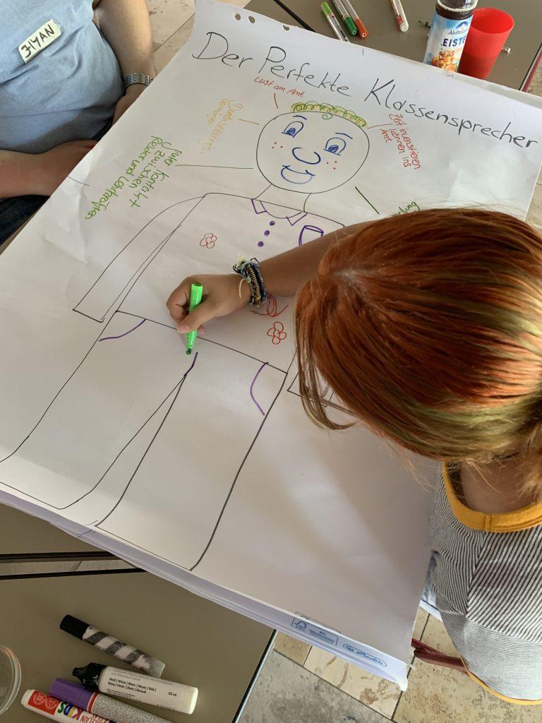 Die Jugendlichen zeichnen den /die perfekte*n Klassensprecher*in.