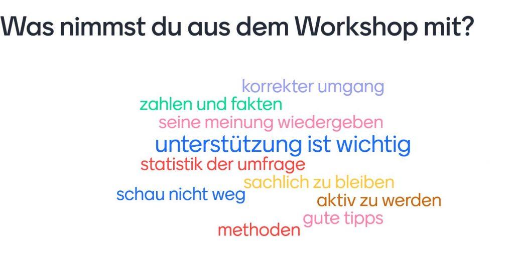 """Sammlung von Wörtern in bunter Schrift für die Frage: """" Was nimmst du aus dem Workshop mit?"""""""
