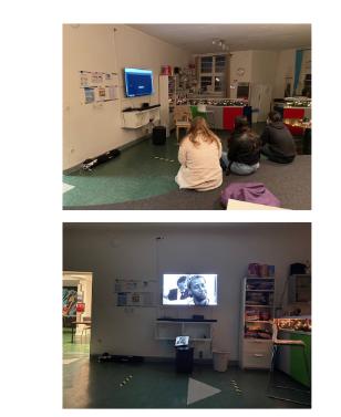 Präsentation der Projektergebnisse in einer offenen Kinder- und Jugendeinrichtung.