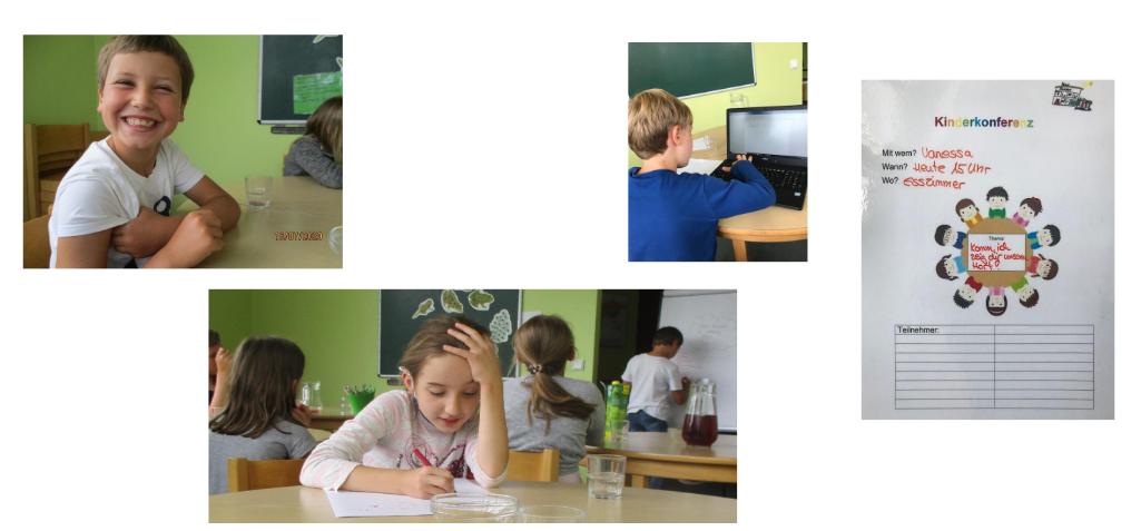 Fotos der Kinder bei der Projektarbeit.