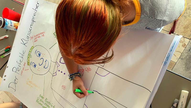 Eine Jugendliche zeichnet den /die perfekte*n Klassensprecher*in.