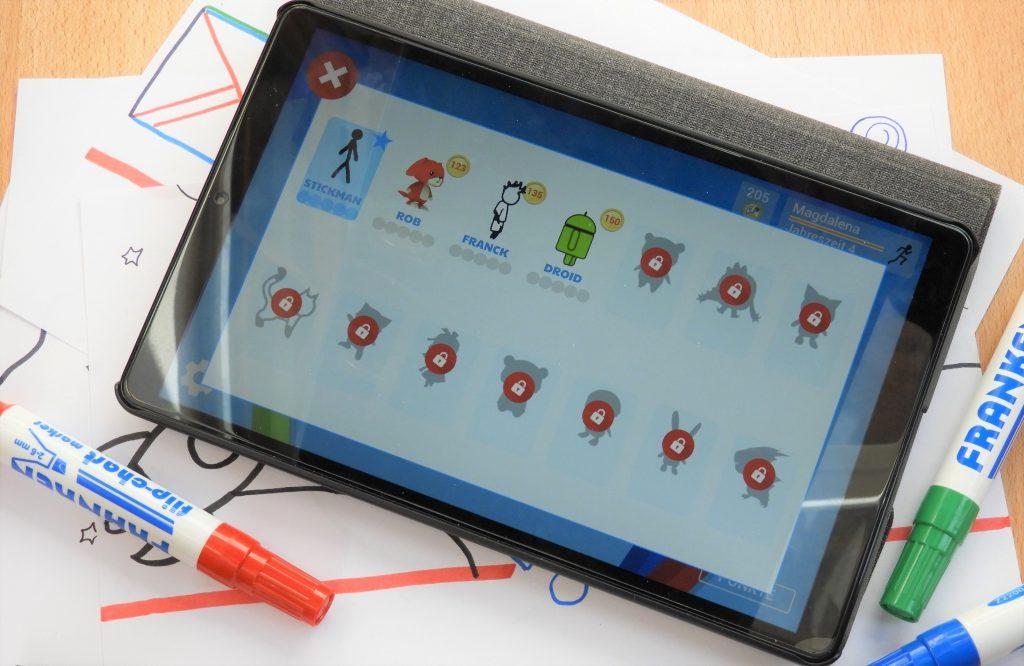 Auf dem Tablet sind die verschiedenen Figuren zu sehen, die es in Draw Your Game gibt.