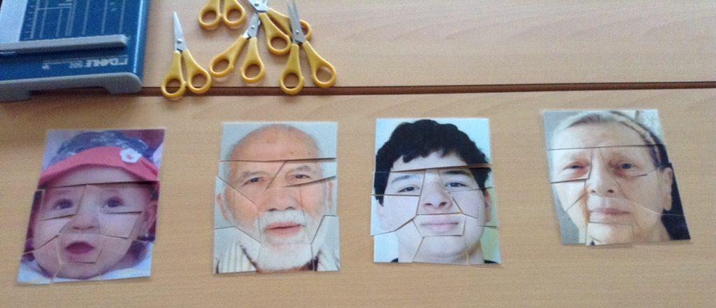 Foto des Fotospiels von BuBiTo. Dabei werden Fotos von Gesichtern zerschnitten und anschließend wieder zusammengepuzzelt.